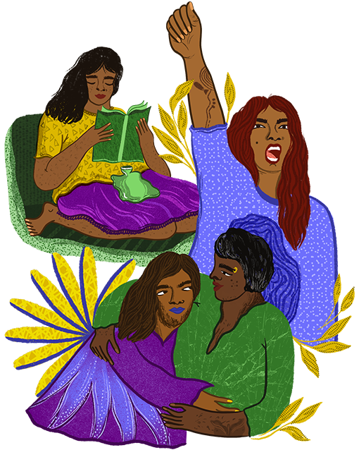 An illustration, a woman reading a book with a hot pack on abdomen, a woman raising a hand, a lesbian couple hugging eachother.