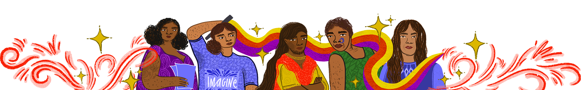 Digital illustration of five women representing feminism