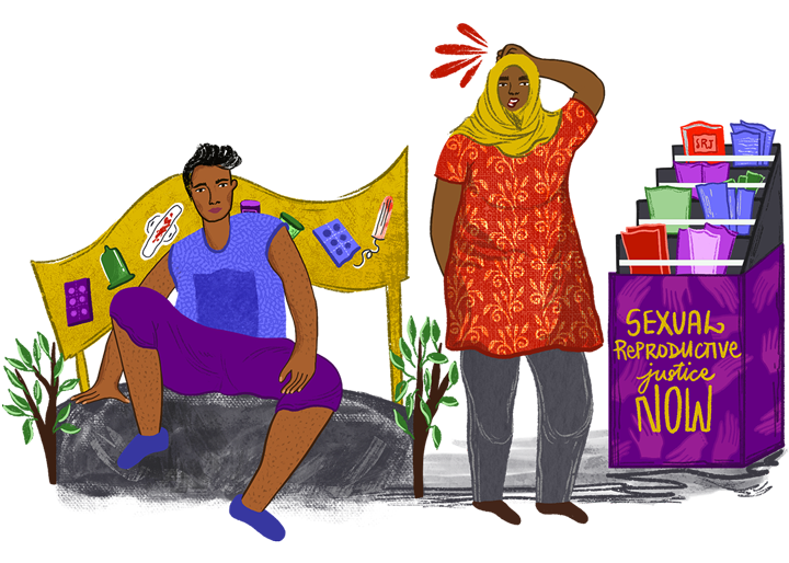 An Illustrated androgynous woman sitting on a rock in front of a sanitary products banner, a woman with a hijab standing next to leaflet display holder named Sexual reproductive justice now