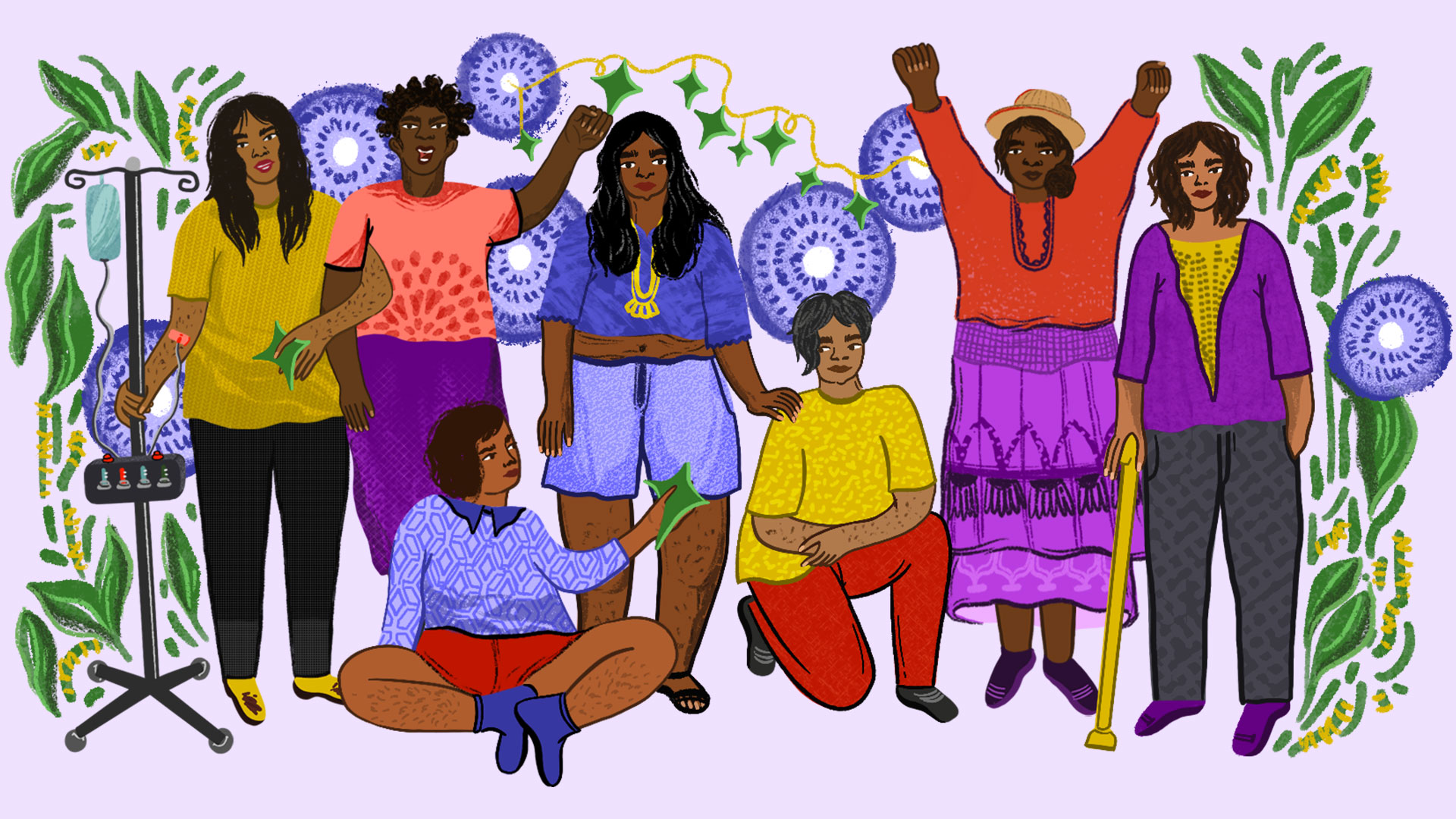 An illustration, five women standing up and two women sitting down with different ethnicities, colour and abilities on a flowery background.