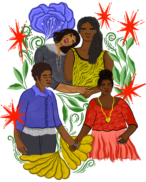 An illustration, two lesbian couples, one couple holding hands, the other couple hugging eachother.