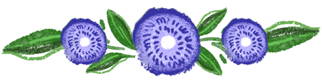 Illustrated three purple flower garland