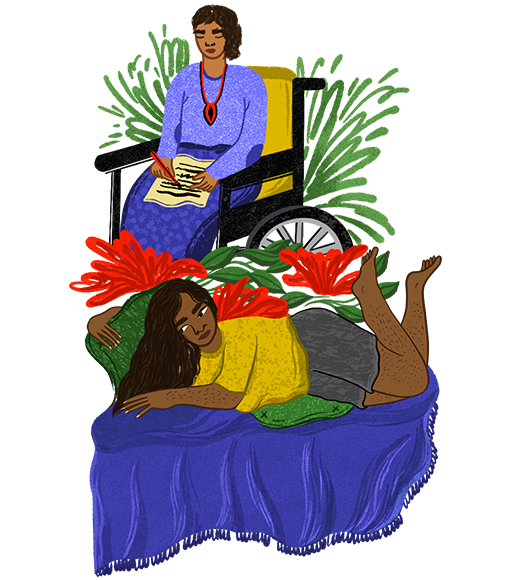 An illustration of a women sitting on a wheelchair writing, another women laying on a bed.