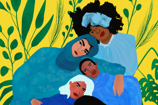 Six people embracing each other in a line with clothes in blue hues, in a yellow background with green lants